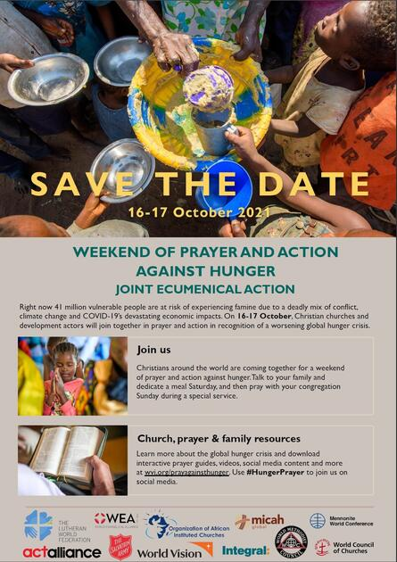 save the date weekend of prayer and action against hunger