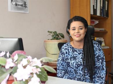 <p>Distance education director Tigist Alamirew at her desk at Meserete Kristos College.Photos courtesy of Tigist Alamirew.</p>