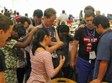 """<p>The interview ended with a prayer session in Messiah College's dining hall at GYS on 19 July 2015.Photo: Dania Ciptadi</p><p style=""""background-image: initial; background-attachment: initial; background-size: initial; background-origin: initial; background-clip: initial; background-position: initial; background-repeat: initial;""""><p></p></p>"""