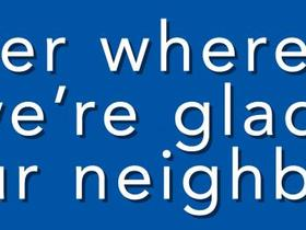 A yard sign to welcome neighbours. Photo: www.welcomeyourneighbors.org