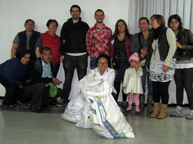 <p>Rut with a group from Teusaquillo Mennonite Church, who serve food to homeless people as one of the ministries of the church.</p>
