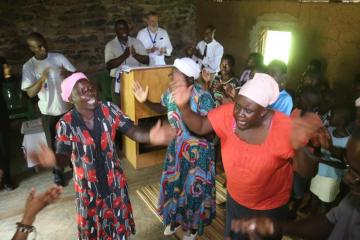 Women praise the Lord during a worship service at a Kenya Mennonite Church congregation. Photo: @realfoto_Kenya
