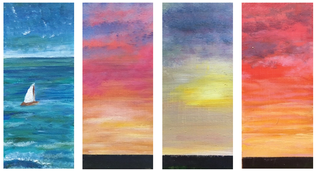 "Four acrylic paintings depict the Waddenzee in the northern part of the Netherlands; ""one of the last empty and clean parts of the overcrowded country,"" says artist AnnaMarjan Bosma, a member of Doopsgezind Gemeente Leeuwarden (Mennonite congregation in Leewarden, the Netherlands). ""It's near my home and a beautiful place to pray. I feel God is very near to us there."" Photo: AnnaMarjan Bosma"