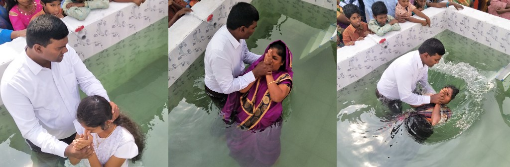 Thousands of Indian people are placing their faith and trust in Jesus and being baptized daily.  Muthulakshmi, Selvi and Evangeline are baptized. Photos supplied by Paul Phinehas
