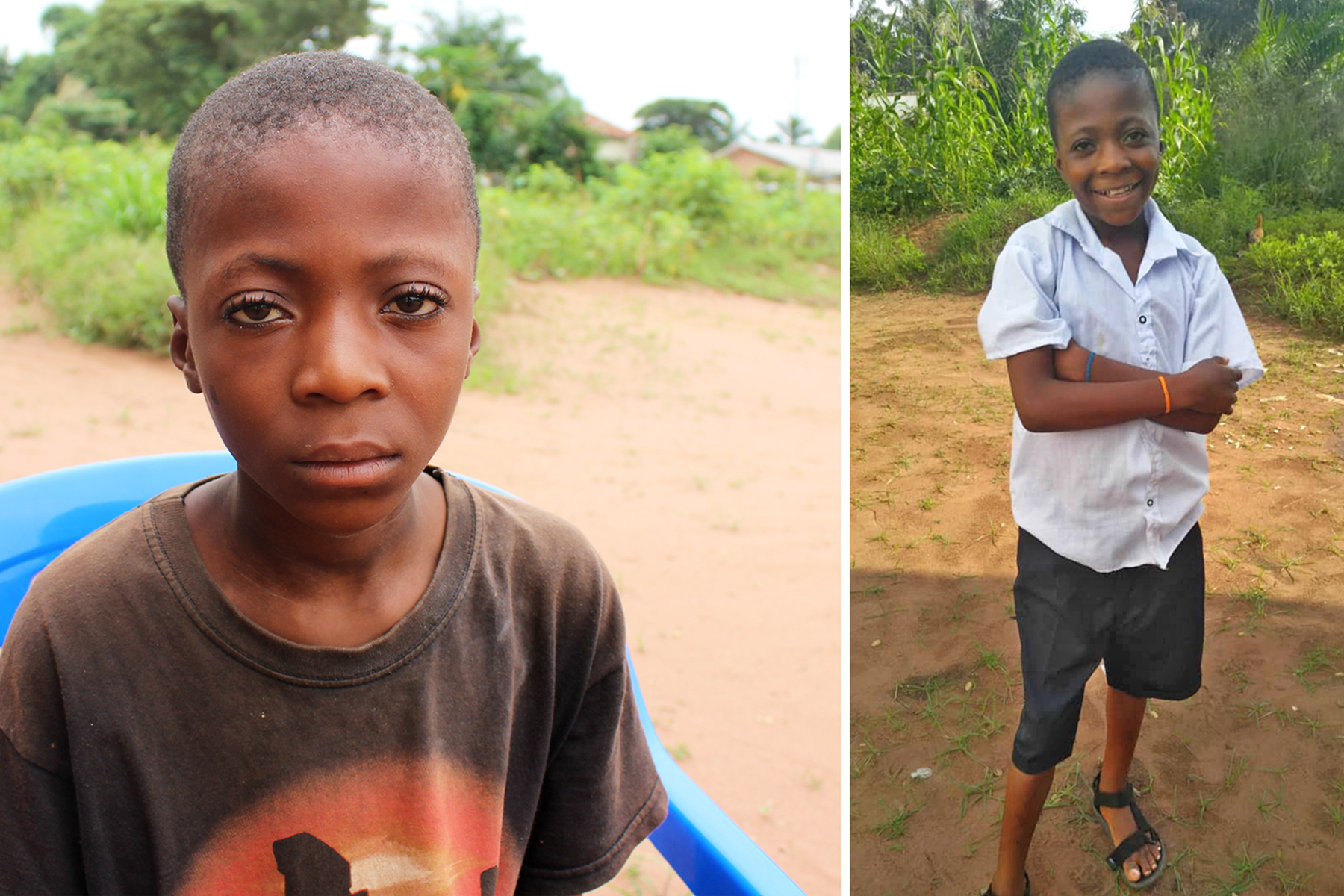"""I am alone here,"" said Kanku Ngalamulume eight months ago. After receiving regular food, school supplies and being taken in as part of a family, a smile has returned to his face. MCC photos/Mulanda Juma and Matthieu Abwe Luhanglea."